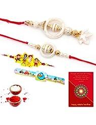TRADITION INDIA Multi-Color Designer Pattern Beautiful Bhaiya Bhabhi Mauli Thread And Beads Rakhi Set Of 3 Piece... - B01J8X38DA