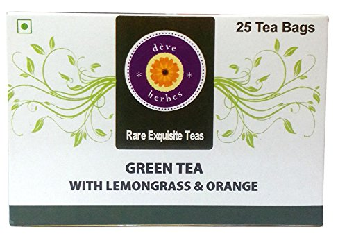Deve Herbes Green Tea With Lemongrass & Orange - 30 Tea Bags (incl 5 Extra)- 50 Gms