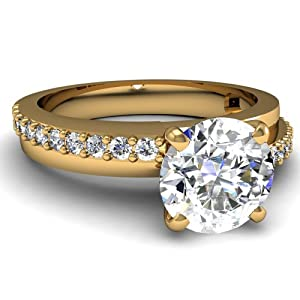 .90 Ct Round Ideal Cut Diamond Engagement Ring Pave Set SI1-G GIA Certificate # 1159087244