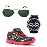 Elligator Stylish Black & Red Sport Shoes & Watch With Spartiate Sunglass For Men's