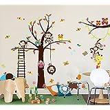 Haya TM Lovely Blooms Zoo Nursery Childrens Room Decorative Wall Stickers Kids Vinyl Sticker Home De