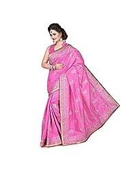 EthnicCrush Pink KANCHI SILK & DUPIAN Saree - B011Y7EQFC