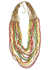 Jewel Plus Long Necklace With Multicolour And Metal Beads For Women