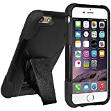 Amzer 97343 Double Layer Hybrid Case With Kickstand - Black/ Black For IPhone 6 Plus