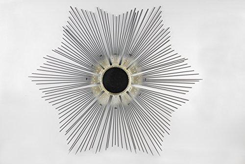 Floral Design Silver Metal Wall Mirror Leaf