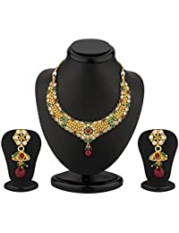 Sukkhi Enchanting Gold Plated AD Antique Necklace Set For Women