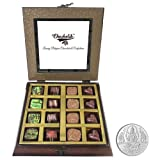 Chocholik - 16Pc Belgian Dark Chocolate With 5gm Pure Silver Coin - Gifts For Diwali