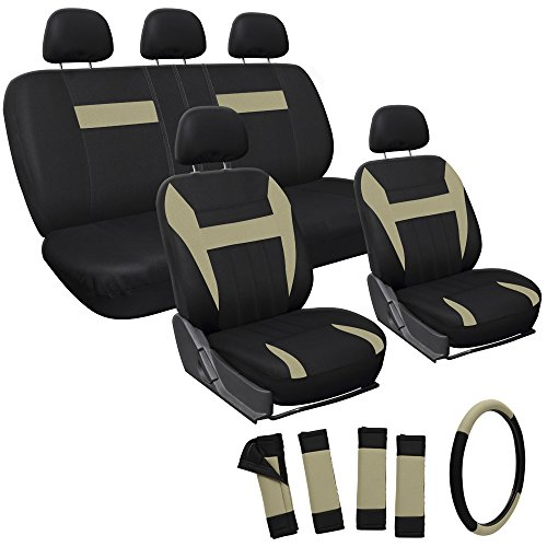 OxGord 17pc Set Flat Cloth Mesh / Tan & Black Auto Seat Covers Set – Airbag Compatible – Front Low Back Buckets – 50/50 or 60/40 Rear Split Bench – 5 Head Rests – Universal Fit for Car, Truck, Suv, or Van – FREE Steering Wheel Cover