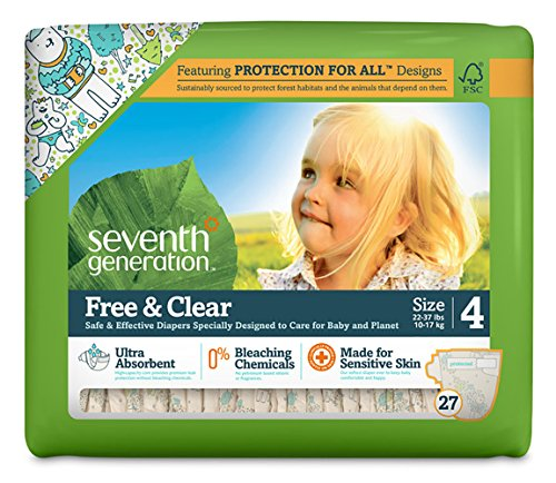 Seventh Generation Free And Clear Sensitive Skin Baby Diapers With Animal Prints, Size 4, 27 Count (Pack Of 4)