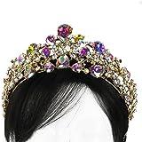 Large Aurora Borealis Crown Tiara Gold Tone Bridal Pageant Quinceanera