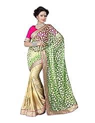 Desi Fusion Green Chiffon Saree