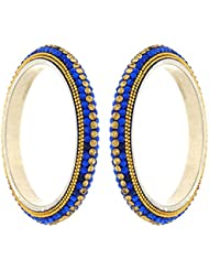 Anuradha Art Navy Blue Colour Styled With Classy Designer Golden Colour Sparkles Ethnic Bangles Set For Women/...
