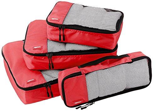 AmazonBasics Lot de 4 sacoches de rangement pour bagage Tailles S/M/L/Slim, Rouge