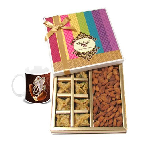Chocholik Belgium Chocolates - Sinful Treat Of Baklava And Almonds Gift Box With Diwali Special Coffee Mug - Diwali...