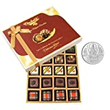 Chocholik Belgium Chocolates - Lovely 20pc Mix Assorted Chocolate Box With 5gm Pure Silver Coin - Gifts For Diwali