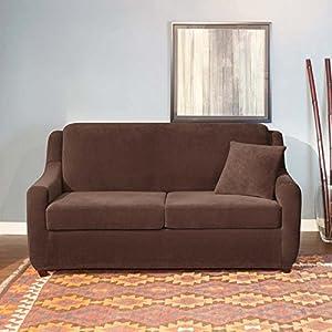 Amazon Surefit Stretch Pearson Full 3 Piece Sleeper Sofa Slipcover Brown Sofa