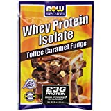Now Foods Whey Protein Isolate Powder, Toffee Caramel Fudge, 1.13 Pound