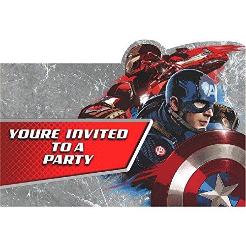 Captain America 3 Civil War Party Invitations (8 count)