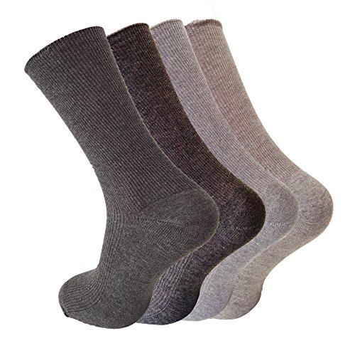 4 Paar Socken für ihn - 100% Baumwolle - atmungsaktiv- ohne einschneidenden Gummi , spitze handgekettelt , (39/42)