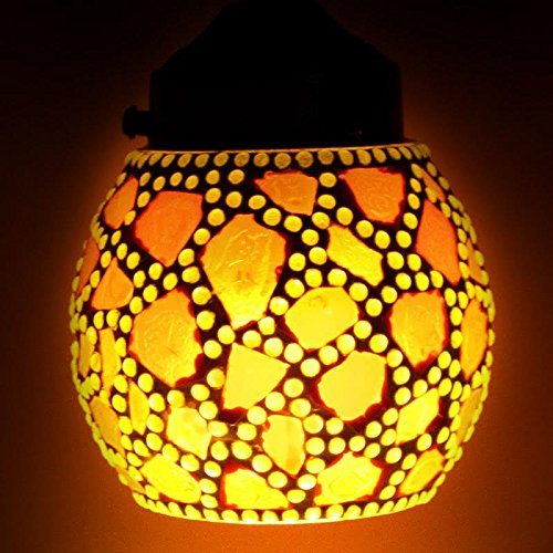 EarthenMetal Handcrafted Multicoloured Egg Shaped Red Coloured Mosaic Glass Hanging Light