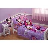 Disney 4 Piece Minnie's Fluttery Friends Toddler Bedding Set (Lavender)