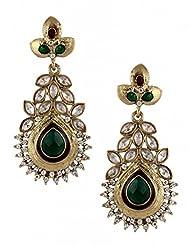 The Jewelbox Maroon Green Meenakari American Diamond Pearl Gold Plated Earring For Women