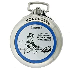 Click to order the Monopoly Boardwalk pocket watch and money clip from Amazon!