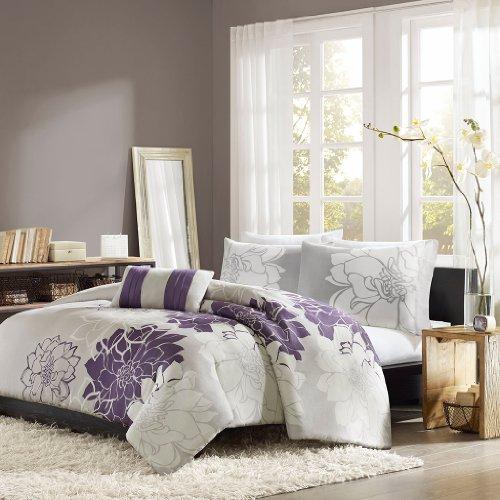 Home Essence Chloe 4-Piece Bedding Set, Queen, Purple