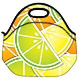Snoogg Citrus Wedge Background Card In Vector Format Travel Outdoor Carry Lunch Bag Picnic Tote Box Container...