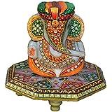 ECraftIndia Paghadi Lord Ganesha On Hexagonal Marble Chowki