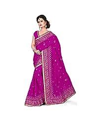 EthnicCrush Bright Purple KANCHI SILK & DUPIAN Saree