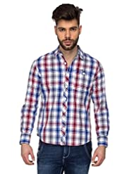 Blumerq Men Maroon Blue Casual Printed Shirt