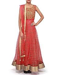 Kalki Fashions Coral Anarkali Suit Adorn In Gotta Patti Embroidery