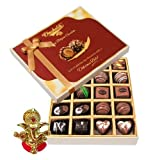 Chocholik Belgium Chocolates - 20pc Dark And Milk Chocolate Box With Ganesha Idol - Diwali Gifts
