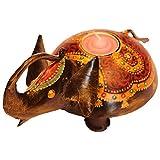Jodhpur Summers Iron Elephant-Shaped Candle Holder (9 X 7 X 5 Inches)