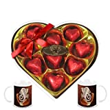 Chocholik's Legend Heart Shape Nicely Wrapped Chocolates With Diwali Special Coffee Mugs - Gifts For Diwali