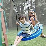 (Blue) Tire Swing, Super Spinner FUN Child Swing, Belt Disc, For Easy Swing Set Or Tree Install