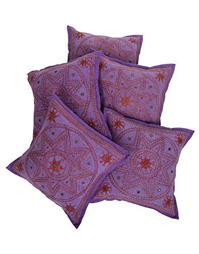 Rajrang Sofa Décor Kantha Work Cushions Designer Cushion Cover Set 5 Pcs
