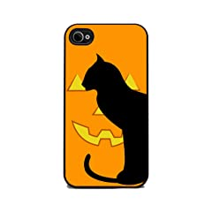 Halloween Pumpkin Cat - iPhone 4 or 4s Cover Cell Phone Case - Black Silicone Rubber Sides