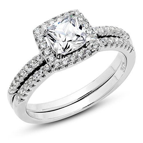 cubic zirconia wedding rings that look real 925 sterling silver cushion cubic zirconia cz 2pc halo 3221