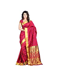 Vimlon Kanchipuram Art Silk Abstract Flower Rich Zari Pallu Emboss Saree