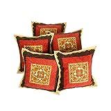 Rajrang Sofa Décor Cushions Designer Cushion Cover Mirror Embroidery Work Set 5 Pcs - B00RCM8E48