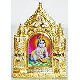 DollsofIndia Makhan Chor Krishna On Stone Studded And Golden Carved Metal Frame - Metal Frame - B00LD5SKR6