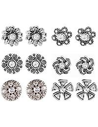 Shining Jewel Metallic Stud Earring Combo Pack Of 6 (SJEC_07)