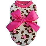 Alcoa Prime Hot Pink Color Pet Dog Puppy Cat Winter Leopard Clothes Cute T-Shirt Soft Warm Coat New