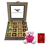 Valentine Chocholik Premium Gifts - Vibrant Love Surprise Of Beautiful Chocolates With Teddy And Love Card