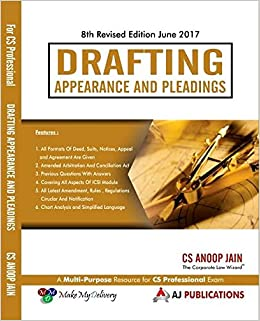 Drafting Appearance and Pleadings for CS Professional June 2017