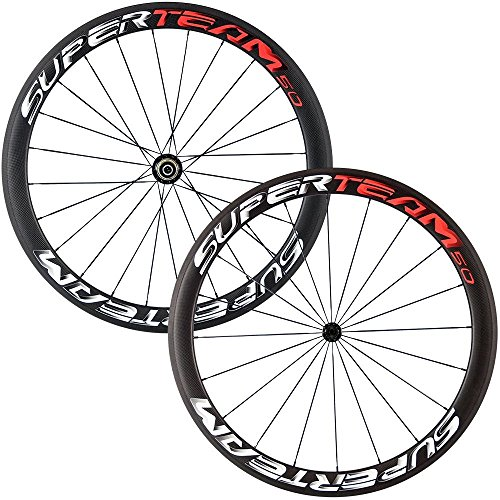 Superteam 50mm Clincher Wheelset 700c 23mm Width Cycling Racing Road Carbon Wheel Decal (Red and White 3D Decal)
