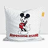 """Disney Mickey Mouse Digital Printed Cushion Filled With Microbeads - Pack Of 1 (16""""x16"""")"""