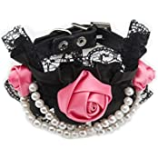 Imported Pet Dog Cat Puppy Rose Pearls Decor Necklace Lace Collar Neck Strap Black M